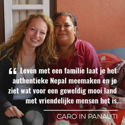 Caro op bezoek bij een homestay in Panauti, Nepal